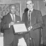 Freddie receiving 'Achievement Award' presented in 1969 by Fred White, president Wagner College Alumni Association