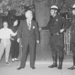 New York Senator Kenneth B. Keating arriving to the Thomases' home on Skuse Street 1957